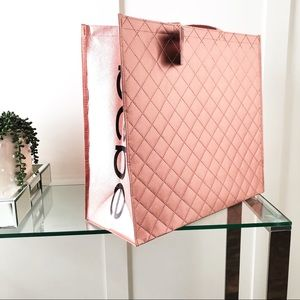 New BEBE Quilted Rose Gold Reusable Shopping Tote